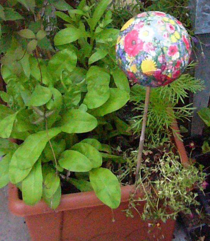 Garten kugel bastelideen serviettentechnik for Garten bastelideen
