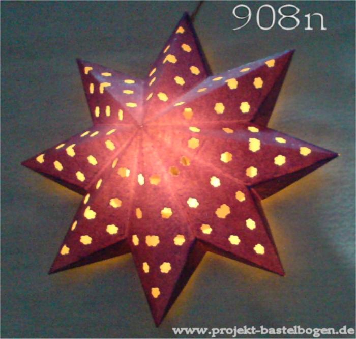 bastelbogen nr 908n 8 spitz stern weihnachtssterne sterne zu weihnachten selber basteln. Black Bedroom Furniture Sets. Home Design Ideas